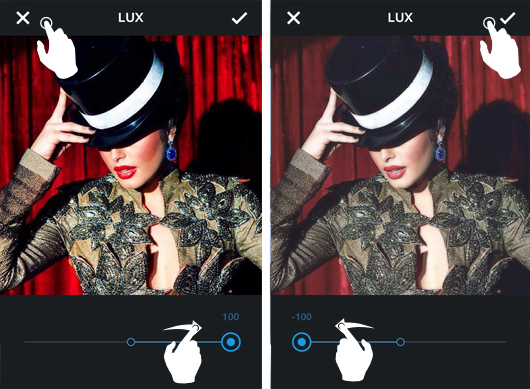 Инстаграм эффекты  lux